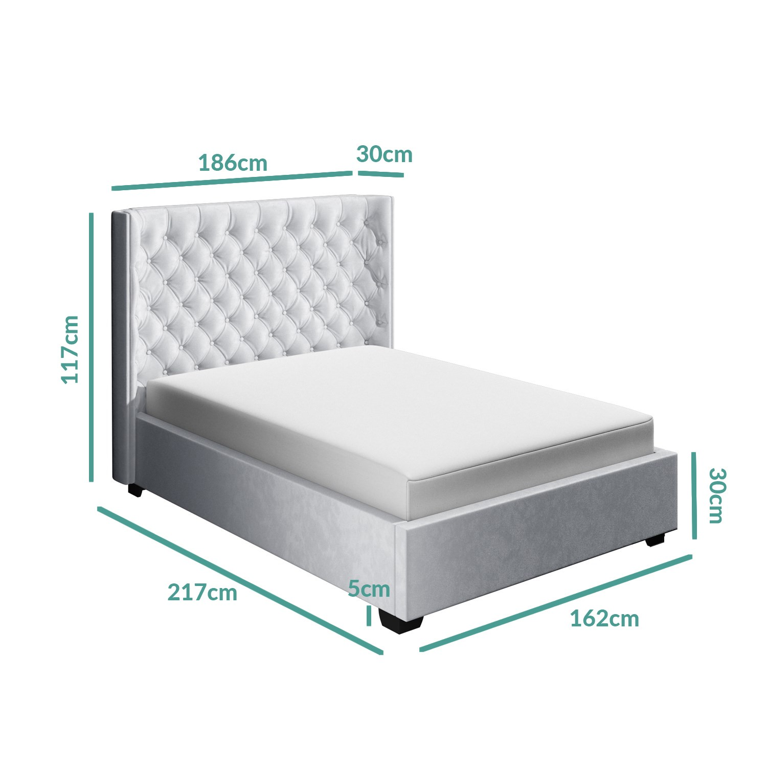 Milania King Size Ottoman Bed In Silver Grey Velvet With Curved Headboard Furniture123