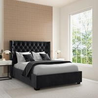 Milania Double Ottoman Bed in Dark Grey Velvet with Curved Headboard