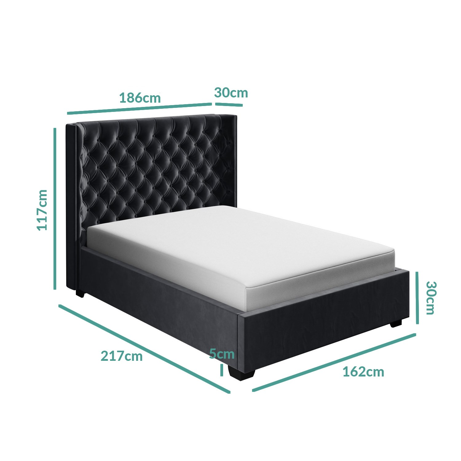 Milania King Size Ottoman Bed In Dark Grey Velvet With Curved Headboard Furniture123