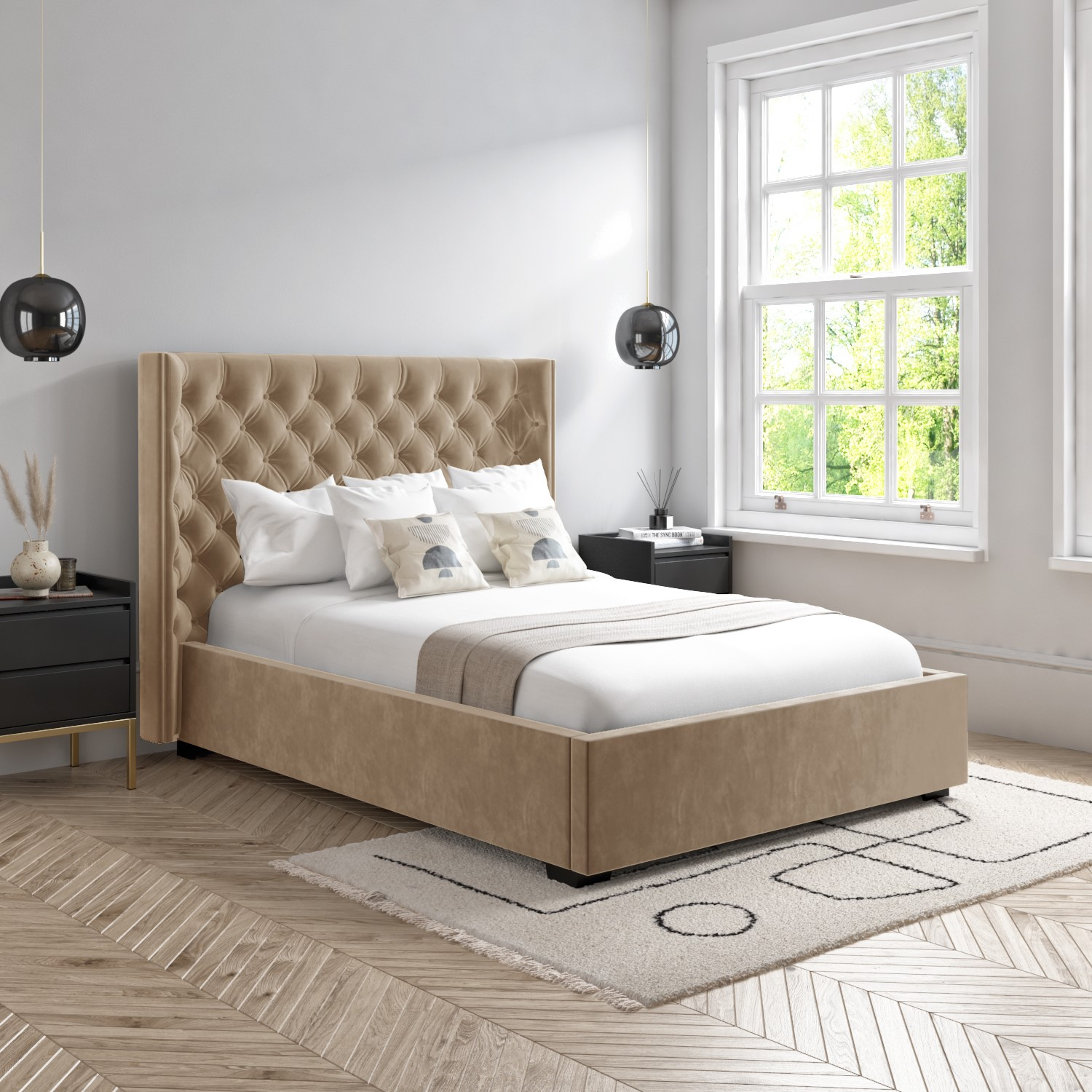 Milania King Size Ottoman Bed In Light Beige Velvet With Curved Headboard Furniture123