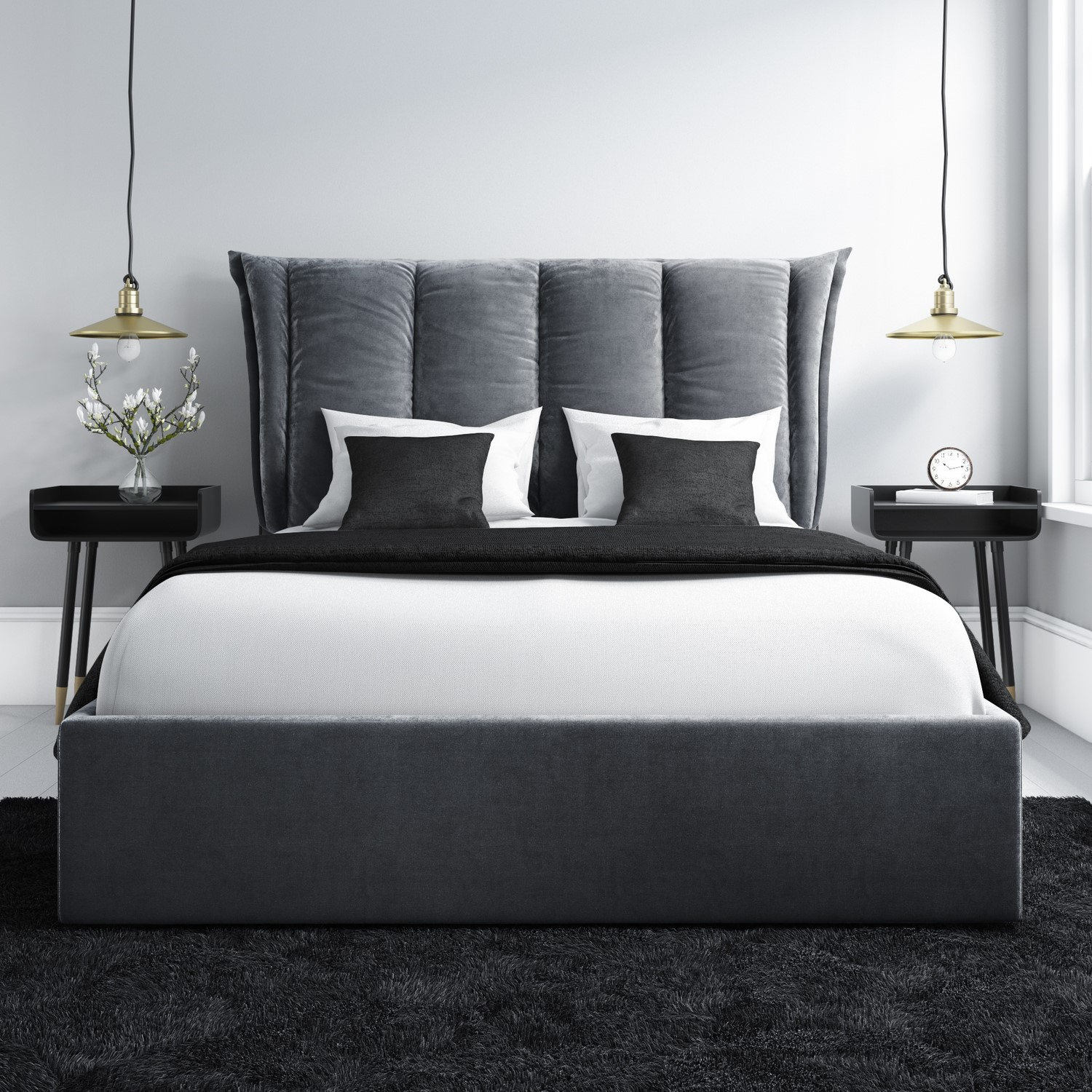 Maddox Double Ottoman Bed with Cushioned Headboard in Silver Grey Velvet