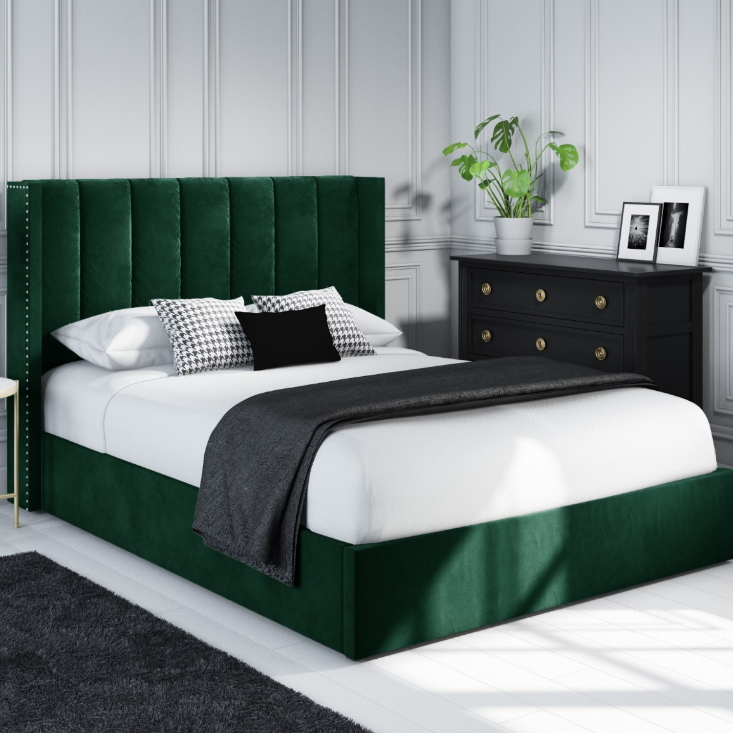 Maddox Wing Back Double Ottoman Bed In Green Velvet Furniture123