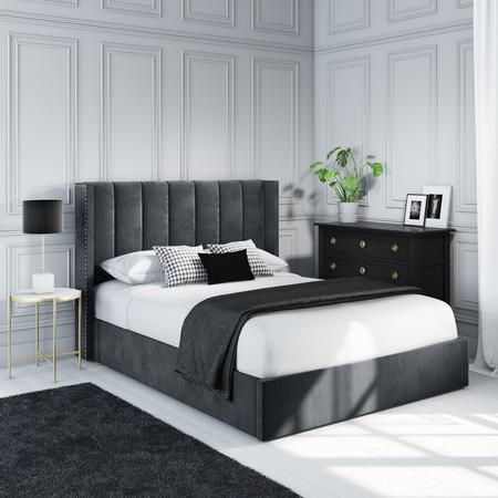 Maddox Wing Back King Size Ottoman Bed in Grey Velvet