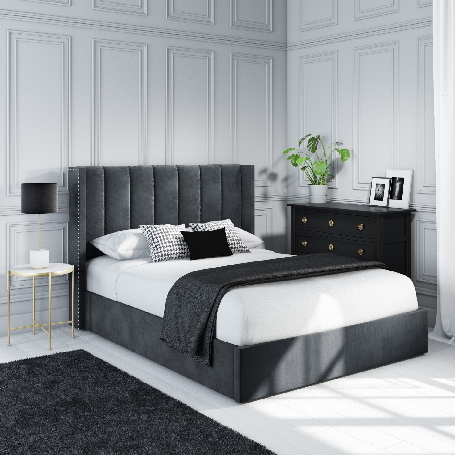 Cool Maddox Wing Back King Size Ottoman Bed In Grey Velvet Theyellowbook Wood Chair Design Ideas Theyellowbookinfo