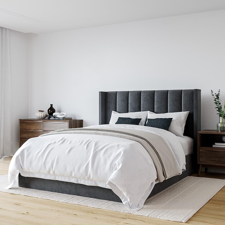 Fabulous Maddox Wing Back King Size Ottoman Bed In Grey Velvet Inzonedesignstudio Interior Chair Design Inzonedesignstudiocom