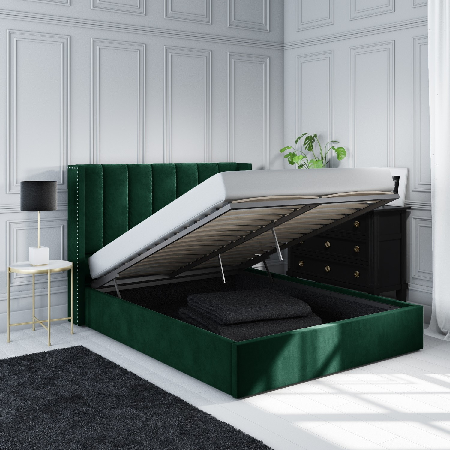 Maddox Wing Back King Size Ottoman Bed In Green Velvet Furniture123