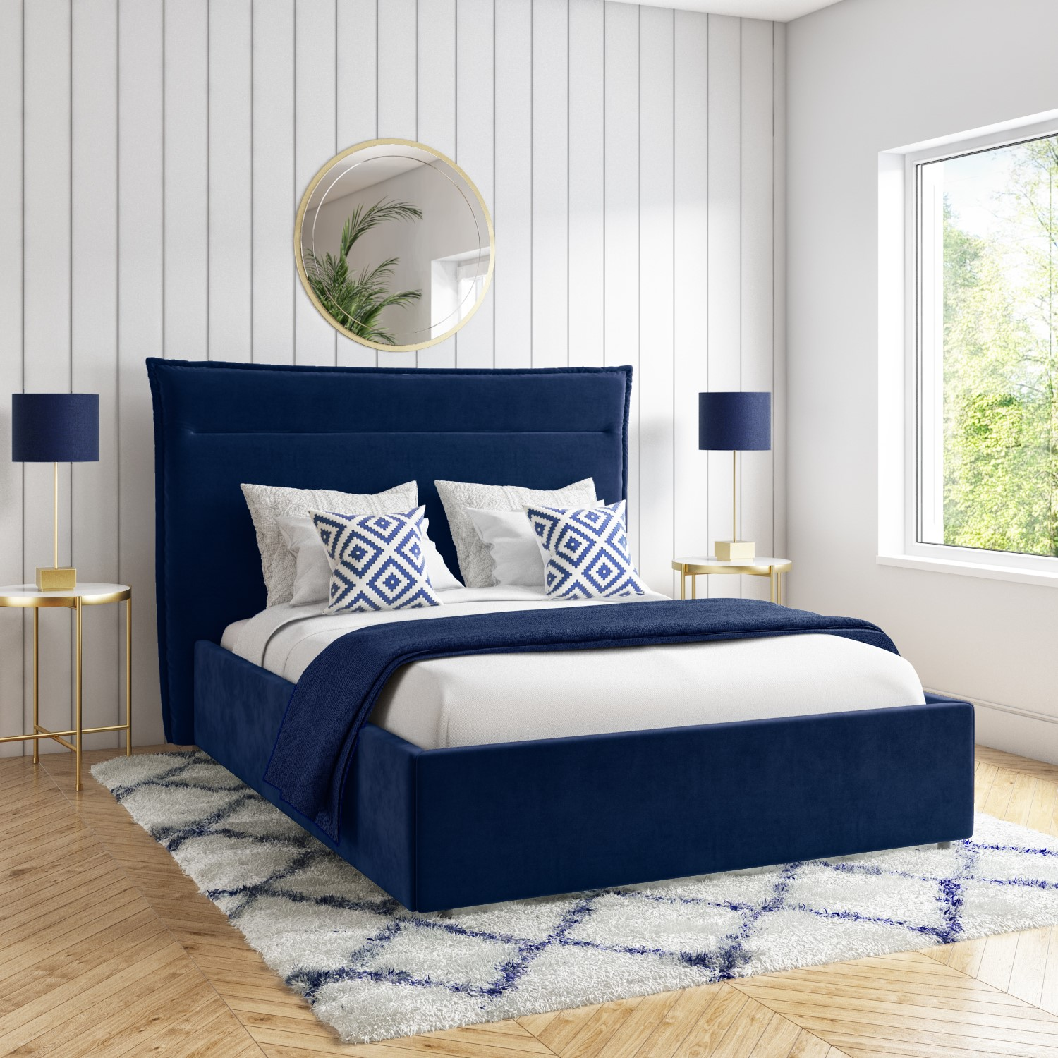 Maddox Navy Blue Velvet King Size Bed Frame With Cushioned Headboard Furniture123