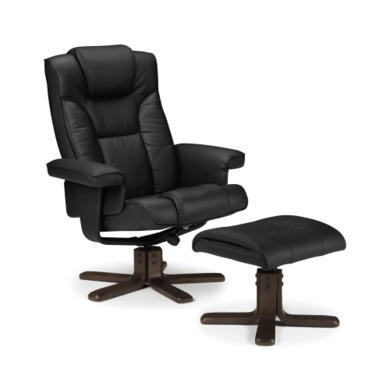 Julian Bowen Malmo Swivel Recliner And Footstool In Black