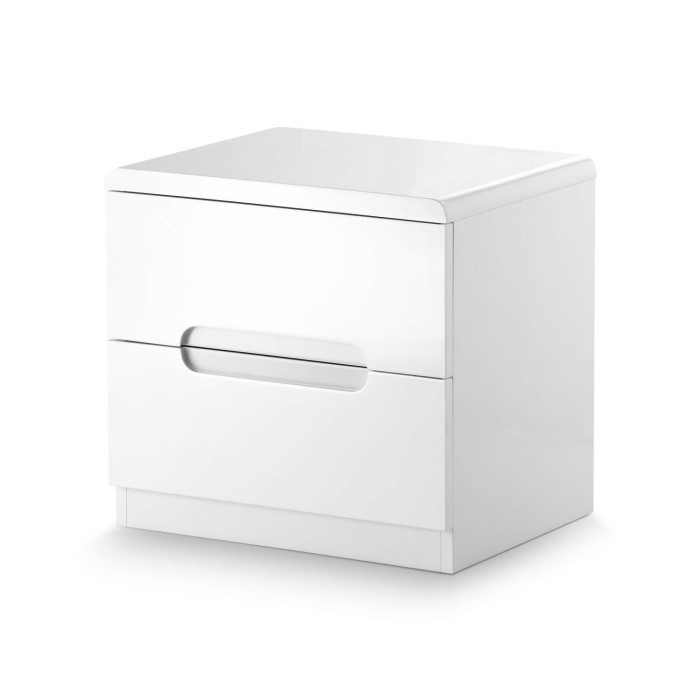 Julian Bowen Manhattan White High Gloss 2 Drawer Bedside Table MAN201 1499b165a4fa