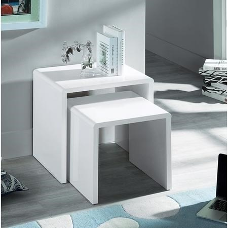 Julian Bowen Manhattan High Gloss White Nest of 2 Tables