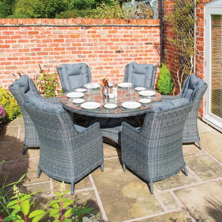 Rowlinson Grey Rattan Garden Dining Set – Seats 6 – Manhattan Range