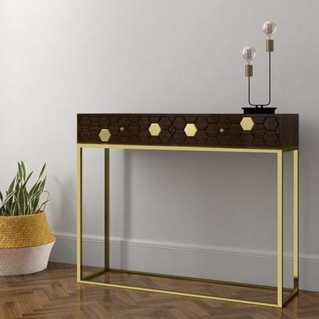 Narrow Console Table in Dark Wood & Gold with Drawers - Mari