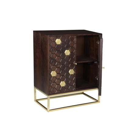 Small Sideboard in Dark Wood & Gold - Mari