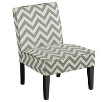 Zig Zag Print Occasional Chair in Grey and White