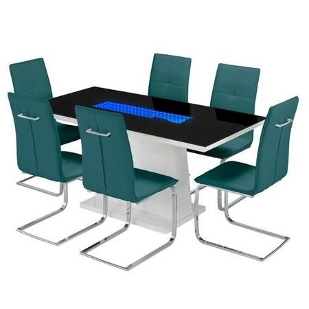 LPD Matrix Black High Gloss Dining Table Set with 6 Teal Dining Chairs