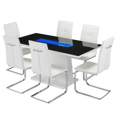 LPD Matrix White Dining Table Set with 6 White Faux Leather Chairs