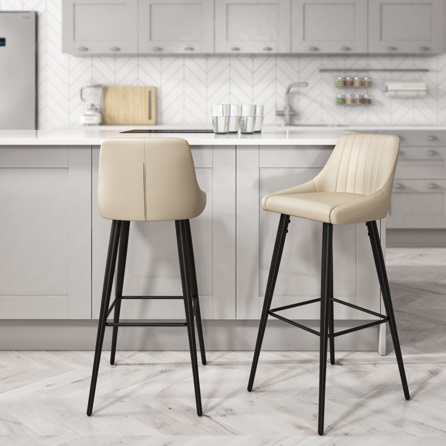 Cream Faux Leather Bar Stool with Back   9cm   Macie