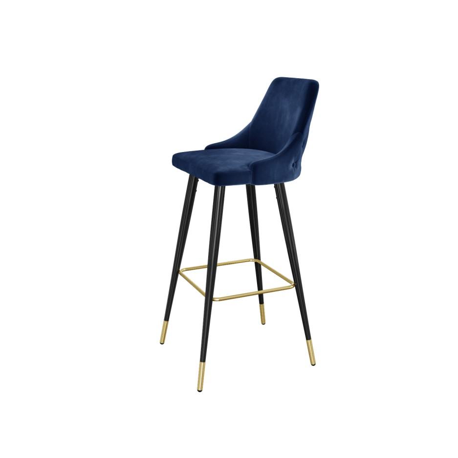 Navy Blue Velvet Bar Stool With Button Back Amp Black Legs