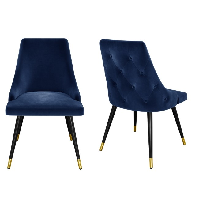 Navy Blue Velvet Dining Chairs with Button Back & Black Legs - Maddy