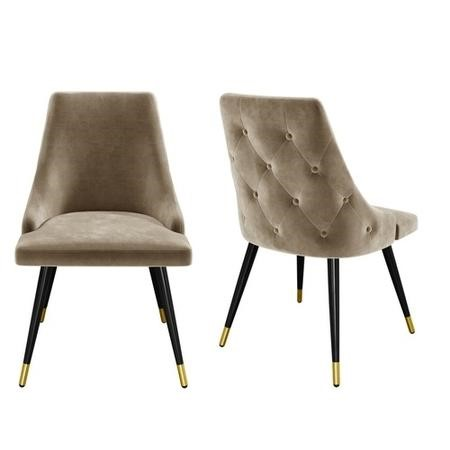 GRADE A2 - Beige Velvet Dining Chairs with Button Back & Black Legs - Maddy