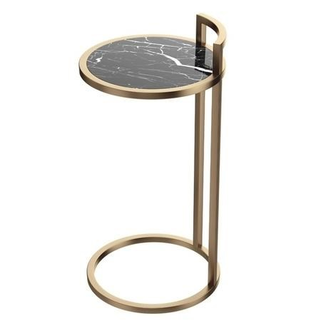 Black Marble Effect Side Table with Gold Metal Base - Meghan