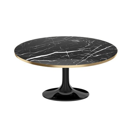 Oval Faux Marble Coffee Table in Black & Gold