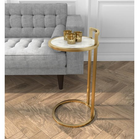 White Marble Effect & Gold Side Table - Meghan