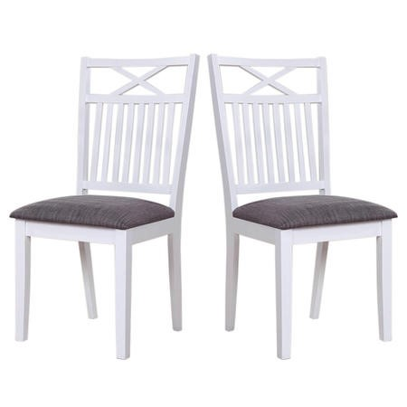Melbourne Island Pair Of White Dining Chairs With Grey Fabric Seat