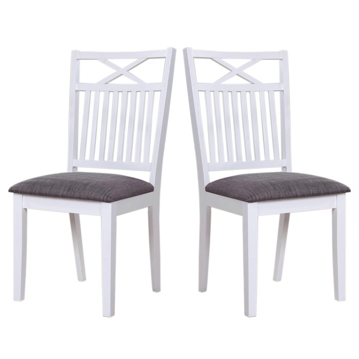 White Fabric Dining Room Chairs: Melbourne Island Pair Of White Dining Chairs With Grey