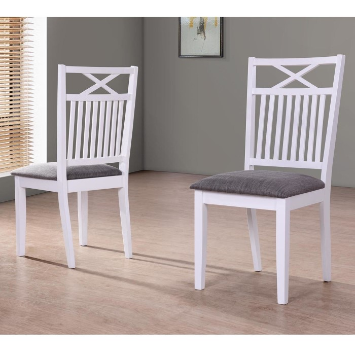 Grade A1 Melbourne Island Pair Of White Dining Chairs With Grey