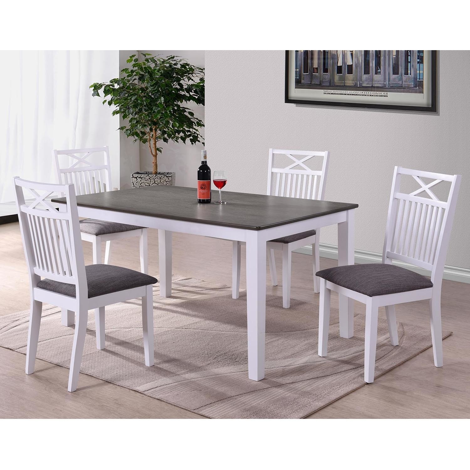 Melbourne Island Two Tone Rectangular Dining Table In White Dark Wood Furniture123