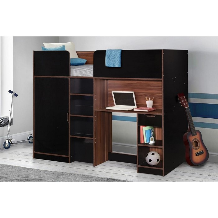 d593c8a3b9af Merlin Single High Sleeper Bed in Black & Walnut | Furniture123