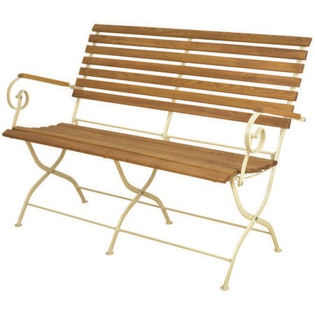 Foldable Garden Bench with Cream Frame & Wood Finish