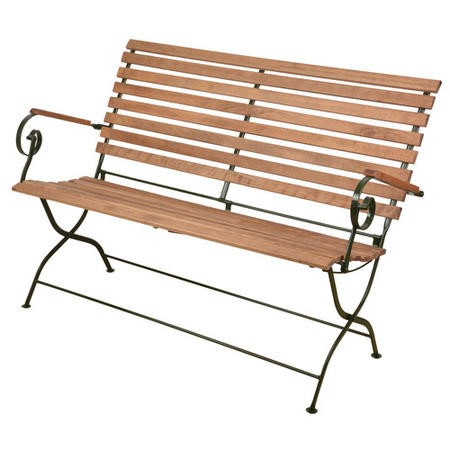 Foldable Garden Bench with Green Frame & Wooden Finish