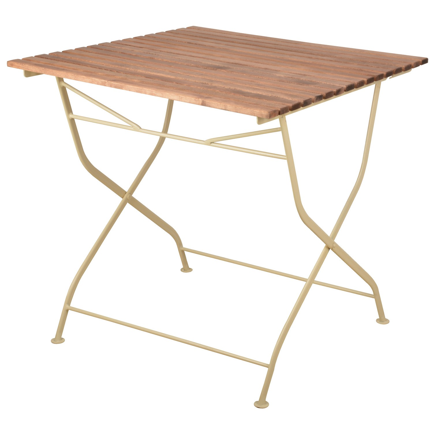 - Outdoor Folding Wooden Table With Cream Metal Frame Furniture123
