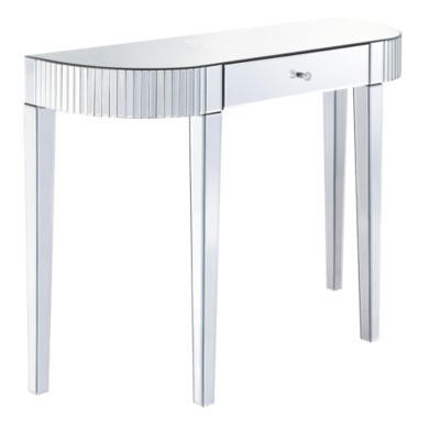 Venice Half Moon 1 Drawer Mirrored Console Table