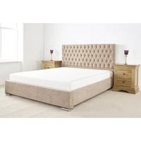 Fernley Double Bed Frame In Beige Soft Touch Linen Fabric