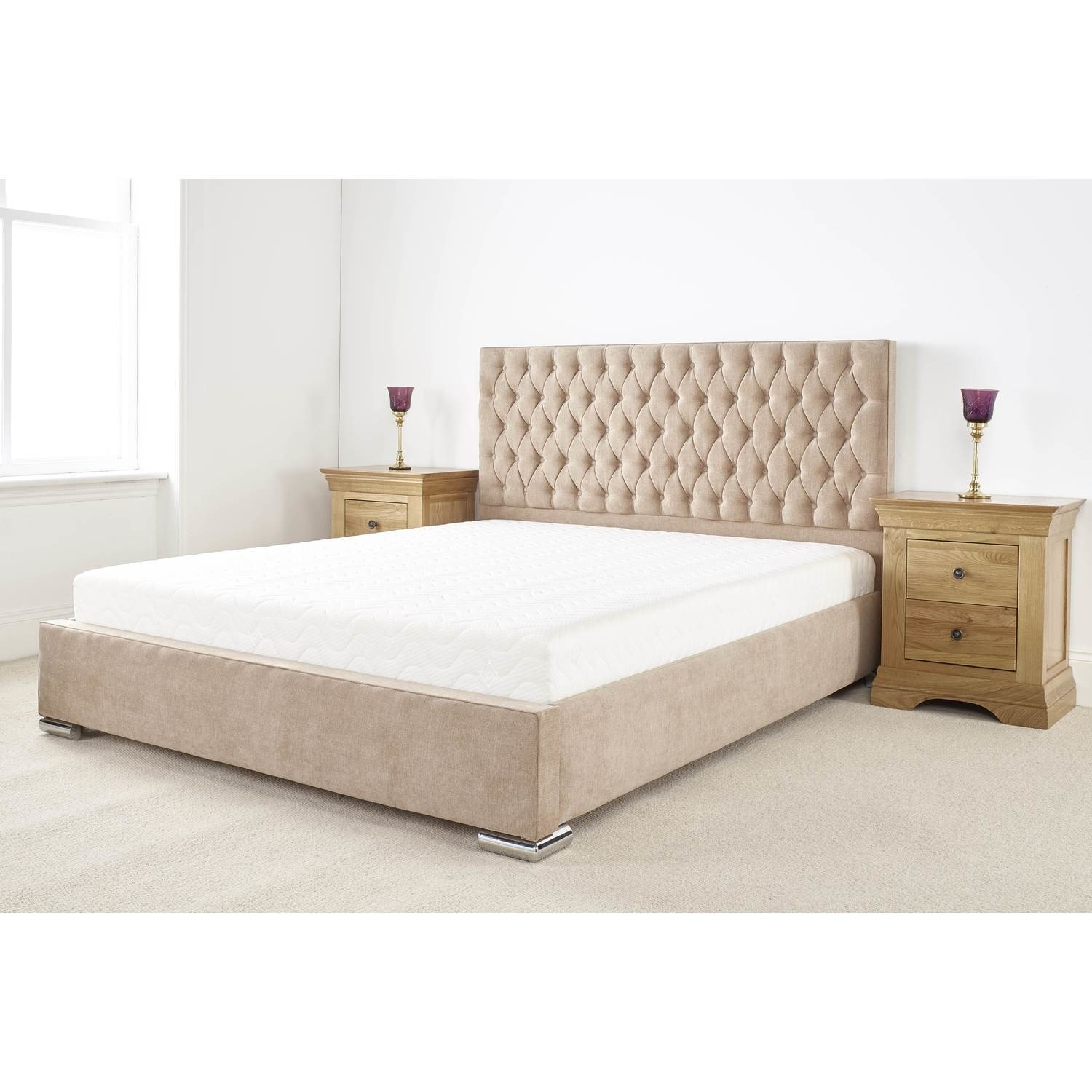 Fernley King Size Bed Frame In Beige Soft Touch Linen Fabric