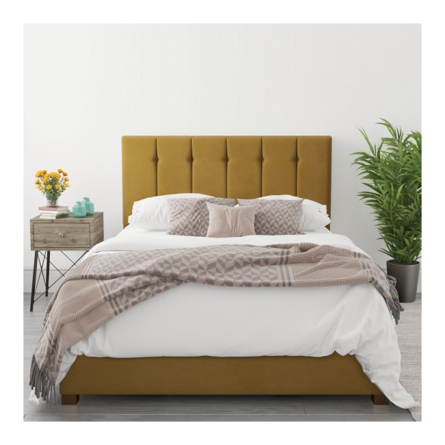 Pimilico King Size Ottoman Bed in Deep Mustard Velvet