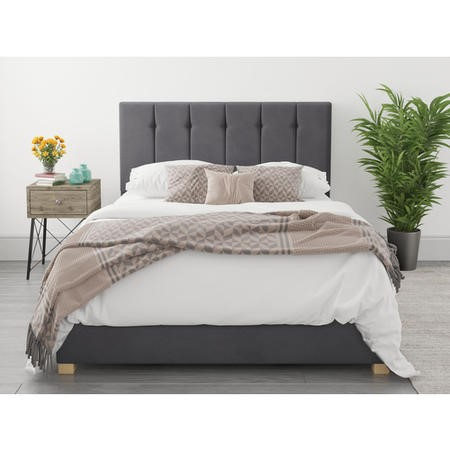 Pimilico King Size Ottoman Bed in Grey Velvet