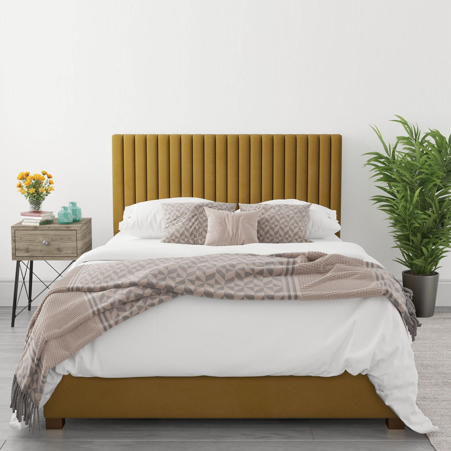 Piccadilly King Size Ottoman Bed In Deep Mustard Velvet Furniture123