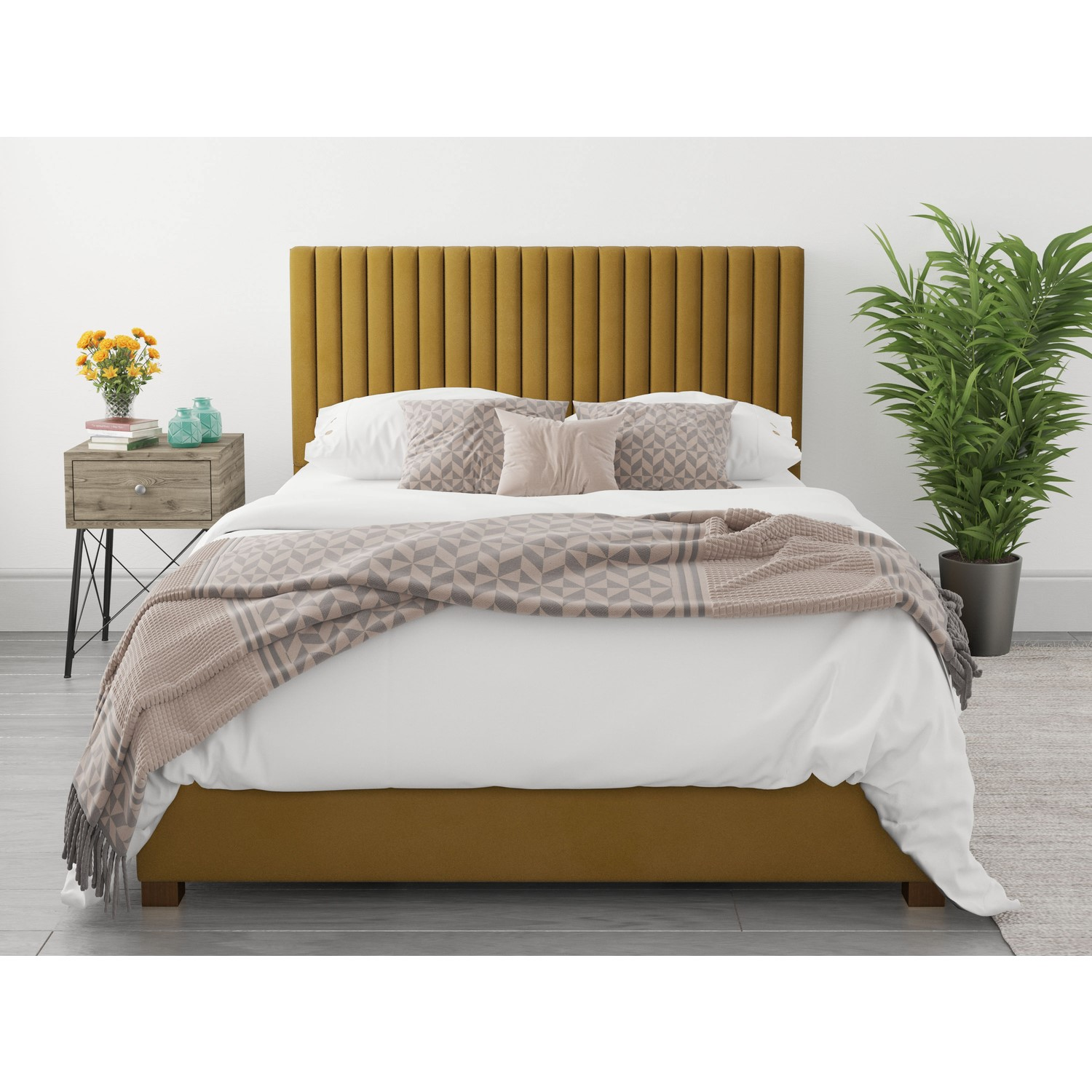 Stupendous Piccadilly King Size Ottoman Bed In Deep Mustard Velvet Pabps2019 Chair Design Images Pabps2019Com