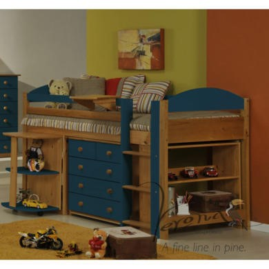 Verona Design Ltd Maximus Midsleeper Bed in Antique Pine and Blue