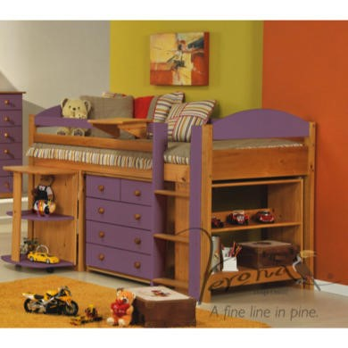 Verona Design Ltd Maximus Midsleeper Bed in Antique Pine and Lilac