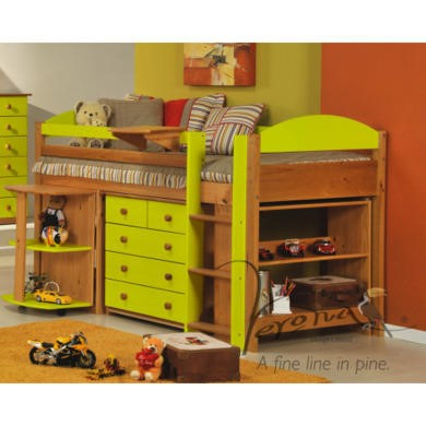 Verona Design Ltd Maximus Midsleeper Bed in Antique Pine and Lime