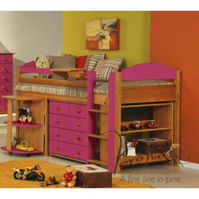 Verona Design Ltd Maximus Midsleeper Bed in Antique Pine and Fuchsia