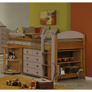 Verona Design Ltd Maximus Midsleeper Bed in Antique Pine and Pink