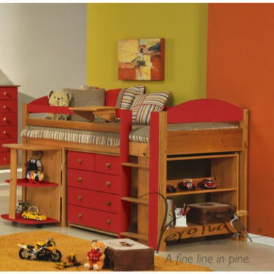 Verona Design Ltd Maximus Midsleeper Bed in Antique Pine and Red