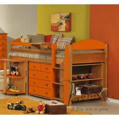 Verona Design Ltd Maximus Midsleeper Bed in Antique Pine and Orange