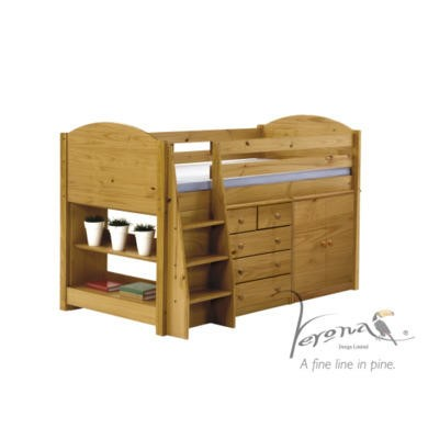 Verona Design Midsleeper Bed in Antique Pine